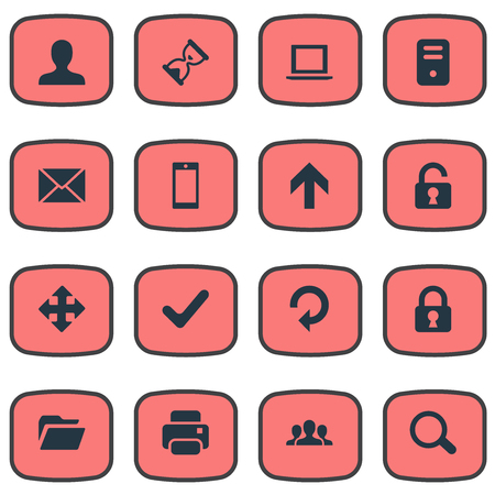 sheath: Set Of 16 Simple Apps Icons. Can Be Found Such Elements As Refresh, Check, Dossier And Other. Illustration