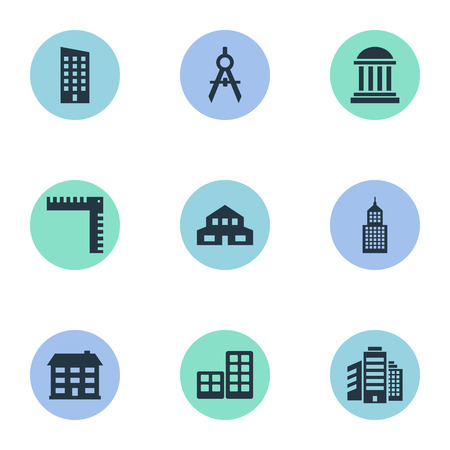 residency: Set Of 9 Simple Architecture Icons. Can Be Found Such Elements As Academy, Flat, Structure And Other.