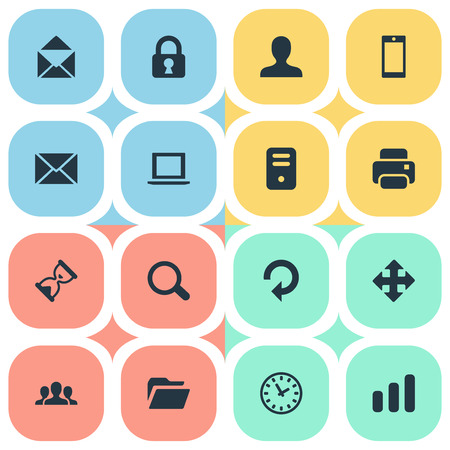 refresh rate: Set Of 16 Simple Apps Icons. Can Be Found Such Elements As Arrows, Smartphone, Statistics And Other.
