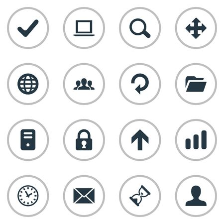 Set Of 16 Simple Application Icons. Can Be Found Such Elements As Arrows, Statistics, Notebook And Other. 일러스트