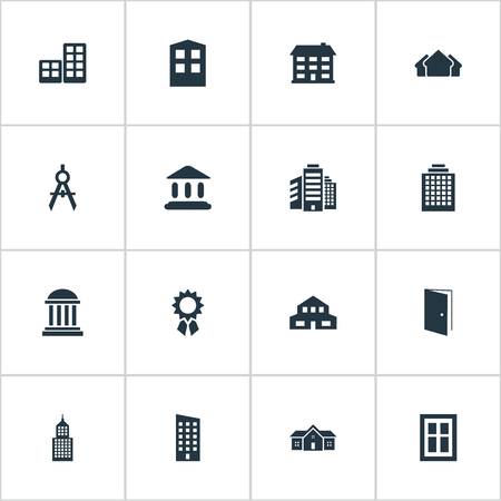 architectonics: Set Of 16 Simple Structure Icons. Can Be Found Such Elements As Gate, School, Booth And Other.