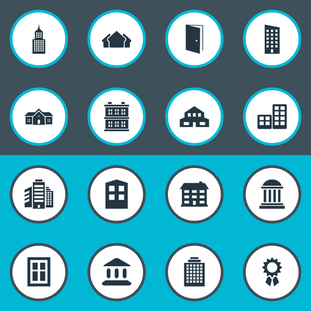 Set Of 16 Simple Architecture Icons. Can Be Found Such Elements As Superstructure, Floor, Construction And Other. Illustration