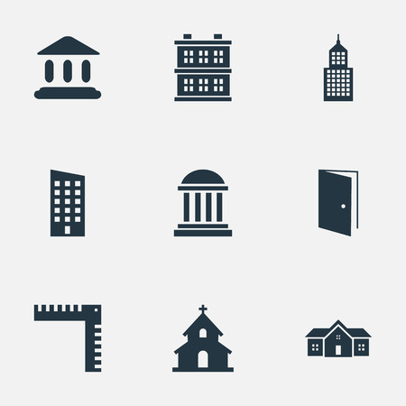 architectonics: Set Of 9 Simple Construction Icons. Can Be Found Such Elements As Block, Popish, Length And Other.
