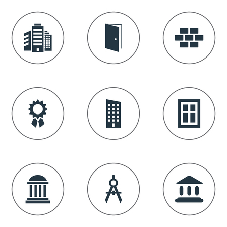 Set Of 9 Simple Structure Icons. Can Be Found Such Elements As Engineer Tool, Superstructure, Glazing And Other.