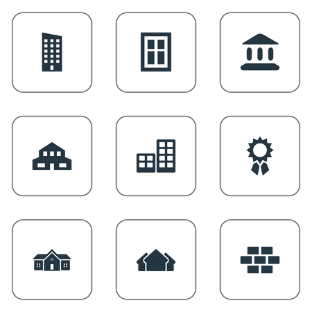 residency: Set Of 9 Simple Structure Icons. Can Be Found Such Elements As Shelter, Stone, Reward And Other.