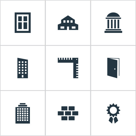 architectonics: Set Of 9 Simple Construction Icons. Can Be Found Such Elements As Glazing, Offices, Floor And Other.