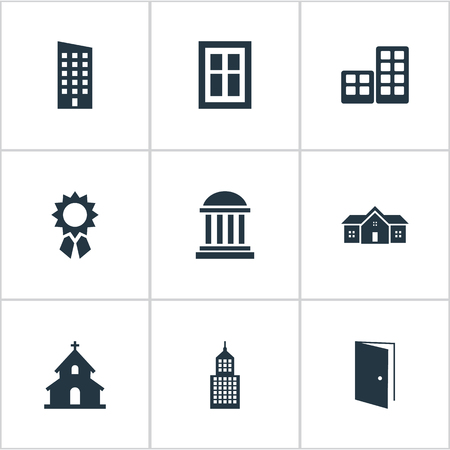 architectonics: Set Of 9 Simple Construction Icons. Can Be Found Such Elements As Flat, Academy, Structure And Other. Illustration