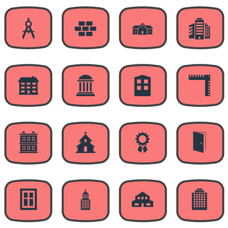 Set Of 16 Simple Structure Icons. Can Be Found Such Elements As Length, Superstructure, Construction And Other.