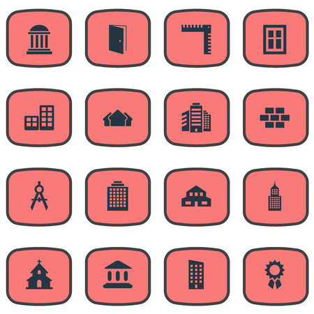 architectonics: Set Of 16 Simple Structure Icons. Can Be Found Such Elements As Booth, Academy, Glazing And Other.