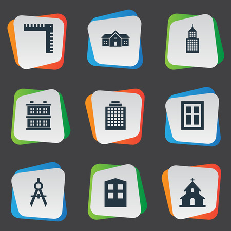 architectonics: Set Of 9 Simple Architecture Icons. Can Be Found Such Elements As Glazing, Popish, Offices And Other.