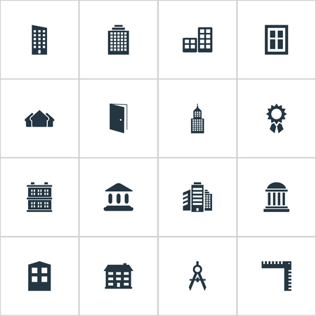 Set Of 16 Simple Structure Icons. Can Be Found Such Elements As Engineer Tool, School, Superstructure And Other. Illustration