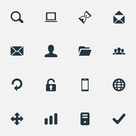 up code: Set Of 16 Simple Practice Icons. Can Be Found Such Elements As Statistics, Message, Notebook And Other.