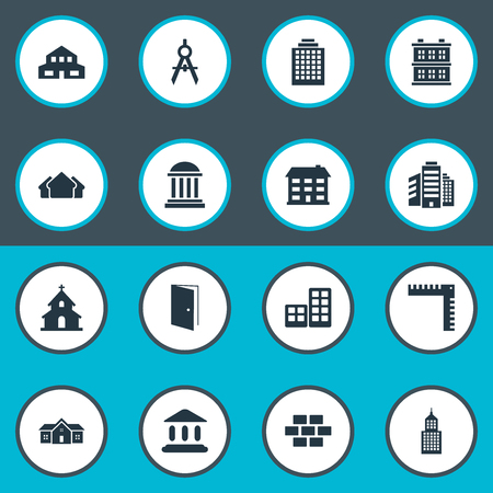 Set Of 16 Simple Structure Icons. Can Be Found Such Elements As Superstructure, Structure, Gate And Other.