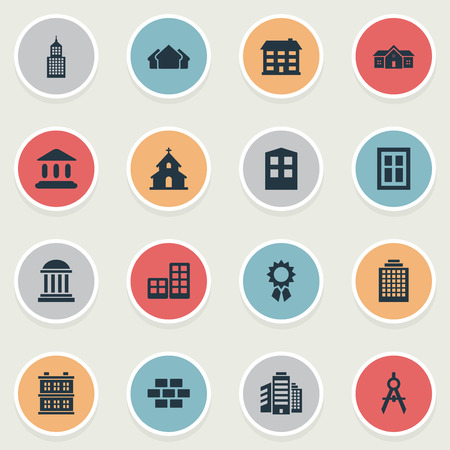 architectonics: Set Of 16 Simple Construction Icons. Can Be Found Such Elements As Reward, Residence, Offices And Other.