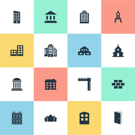 architectonics: Set Of 16 Simple Architecture Icons. Can Be Found Such Elements As School, Floor, Booth And Other.
