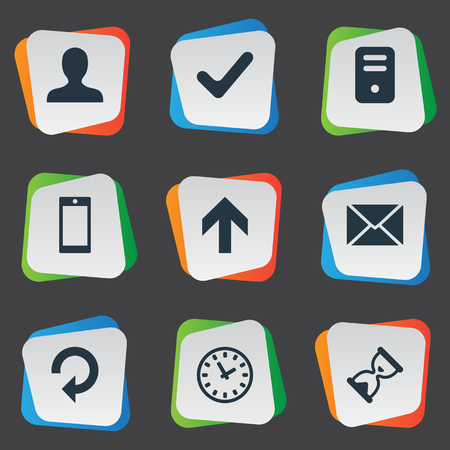sheath: Set Of 9 Simple Application Icons. Can Be Found Such Elements As User, Sand Timer, Message.