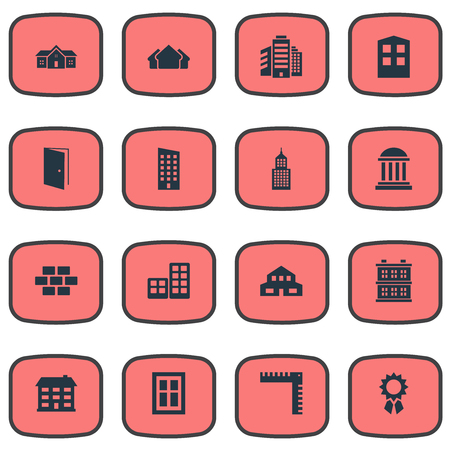 architectonics: Set Of 16 Simple Architecture Icons. Can Be Found Such Elements As Length, Block, Structure And Other. Illustration