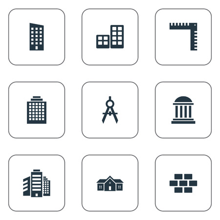 superstructure: Set Of 9 Simple Architecture Icons. Can Be Found Such Elements As Engineer Tool, Academy, Superstructure And Other. Illustration