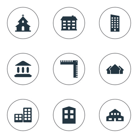 Set Of 9 Simple Architecture Icons. Can Be Found Such Elements As Construction, Length, Residential And Other. Illustration