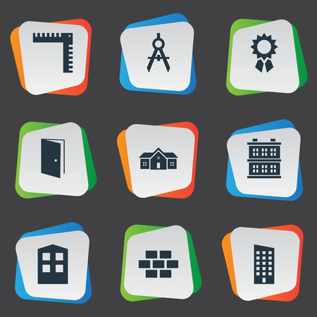 architectonics: Set Of 9 Simple Structure Icons. Can Be Found Such Elements As Construction, Floor, Length And Other. Illustration