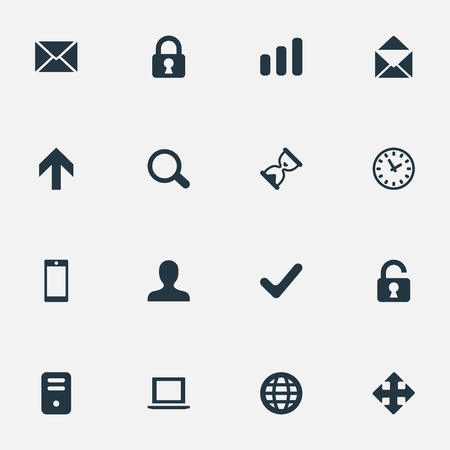 sheath: Set Of 16 Simple Apps Icons. Can Be Found Such Elements As Watch, Arrows, Message And Other. Illustration