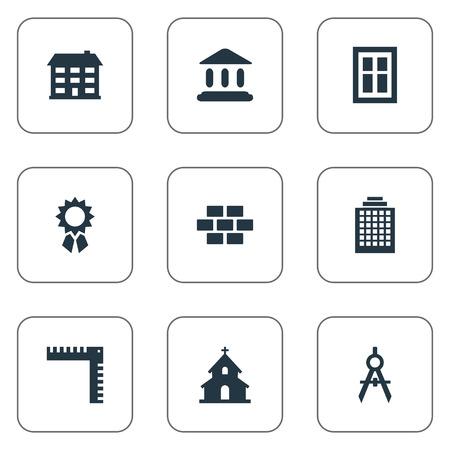 Ensemble de 9 icônes de structure simple. On peut trouver de tels éléments en tant qu'école, récompense, outil de génie et autres.
