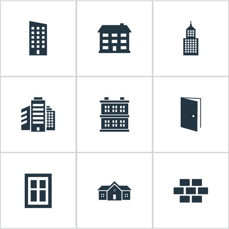 architectonics: Set Of 9 Simple Construction Icons. Can Be Found Such Elements As Floor, Residence, Superstructure And Other.
