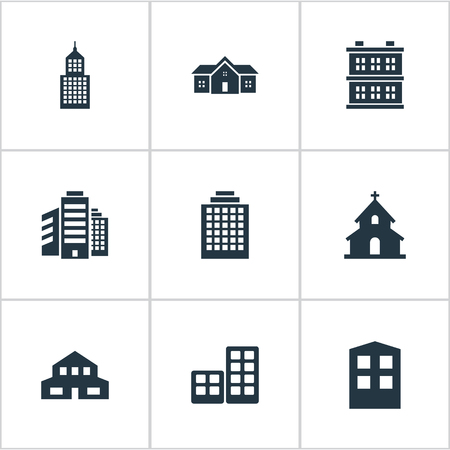 architectonics: Set Of 9 Simple Construction Icons. Can Be Found Such Elements As Residence, Construction, Residential And Other.