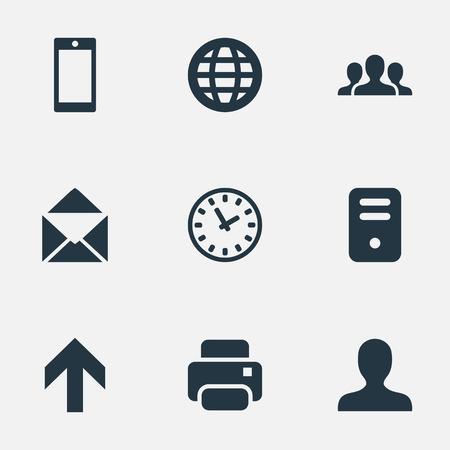 9 간단한 응용 프로그램 아이콘의 집합입니다. 컴퓨터 케이스, 위쪽 방향, 봉투 및 기타 등의 요소를 찾을 수 있습니다. 일러스트