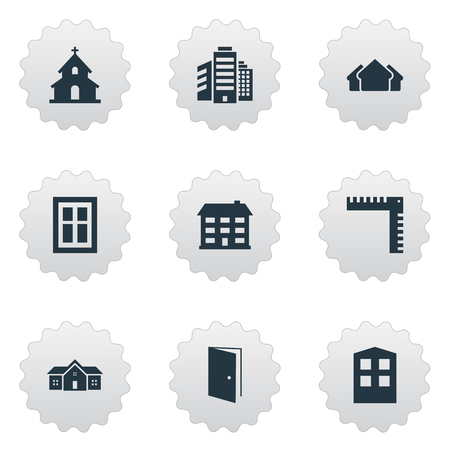 Set Of 9 Simple Structure Icons. Can Be Found Such Elements As Construction, Popish, Superstructure And Other. Illustration