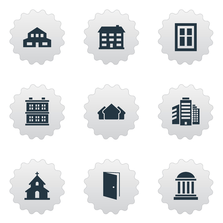 architectonics: Set Of 9 Simple Construction Icons. Can Be Found Such Elements As Popish, School, Academy And Other.