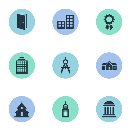 architectonics: Set Of 9 Simple Structure Icons. Can Be Found Such Elements As Popish, Academy, Flat And Other. Illustration