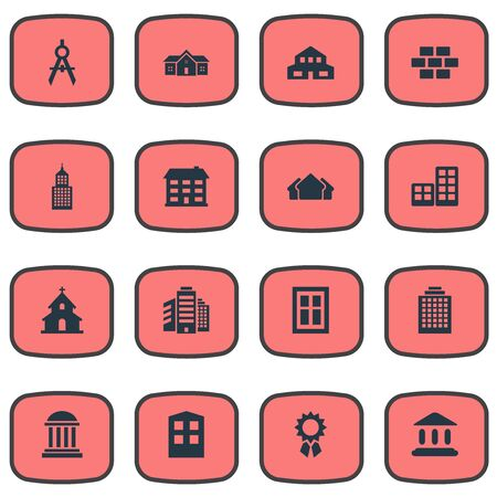 superstructure: Set Of 16 Simple Construction Icons. Can Be Found Such Elements As Superstructure, Popish, Flat And Other. Illustration