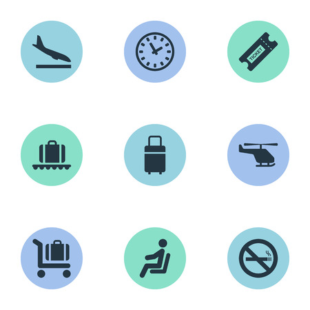 Set Of 9 Simple Travel Icons. Can Be Found Such Elements As Cigarette Forbidden, Coupon, Baggage Cart And Other.
