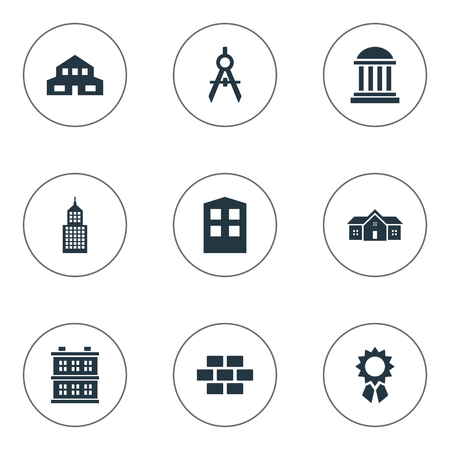 architectonics: Set Of 9 Simple Construction Icons. Can Be Found Such Elements As Structure, Reward, Engineer Tool And Other.