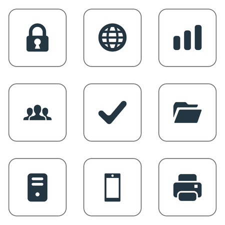 sales manager: Set Of 9 Simple Apps Icons. Can Be Found Such Elements As Printout, Smartphone, Web And Other. Illustration