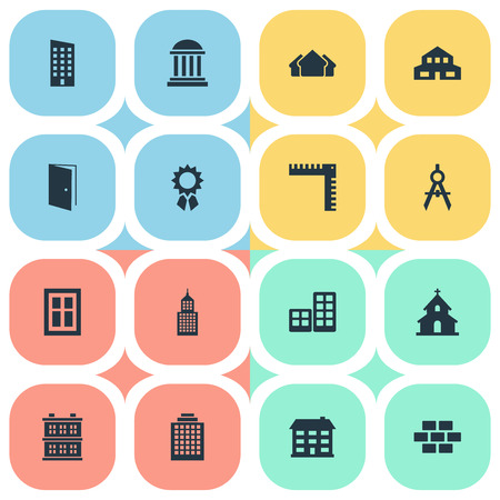 residential structure: Set Of 16 Simple Architecture Icons. Can Be Found Such Elements As Residential, Academy, Structure And Other. Illustration