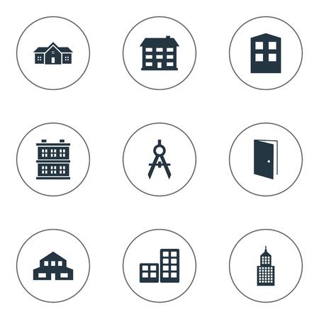 architectonics: Set Of 9 Simple Structure Icons. Can Be Found Such Elements As Engineer Tool, Flat, Residence And Other. Illustration