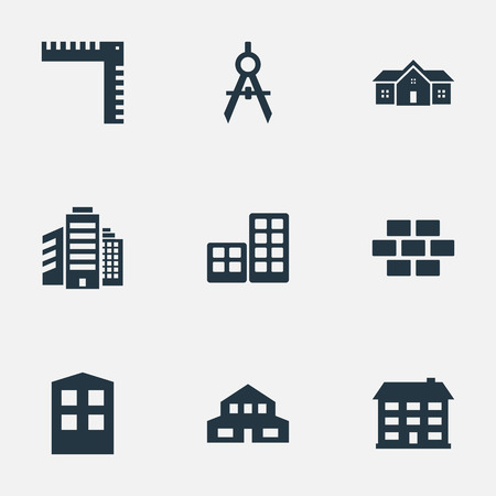 Set Of 9 Simple Structure Icons. Can Be Found Such Elements As Construction, Residential, Stone And Other.
