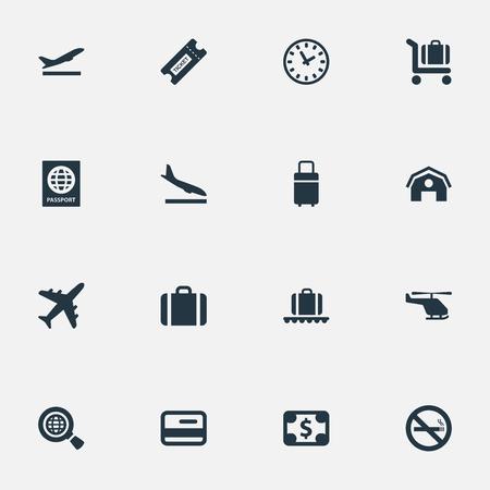 16 간단한 여행 아이콘의 집합입니다. 비행기, 신용 카드, 여행 가방 및 기타와 같은 요소를 찾을 수 있습니다.