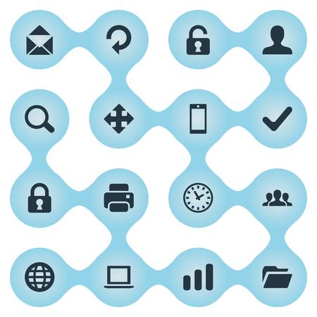 16 간단한 연습 아이콘의 집합입니다. 돋보기, 노트북, 확인 및 기타 등의 요소를 찾을 수 있습니다.