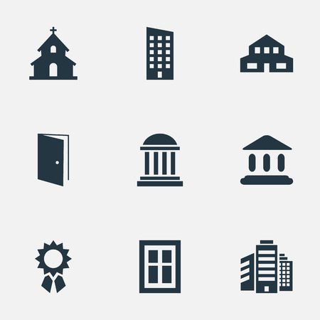 Set Of 9 Simple Construction Icons. Can Be Found Such Elements As Superstructure, Academy, Booth And Other.