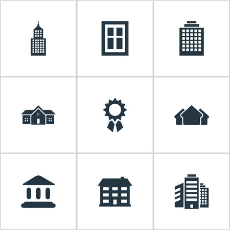 Set Of 9 Simple Construction Icons. Can Be Found Such Elements As Superstructure, Glazing, Residence And Other. Illustration