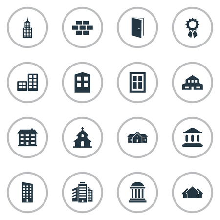 domicile: Set Of 16 Simple Structure Icons. Can Be Found Such Elements As Reward, Flat, Floor And Other.