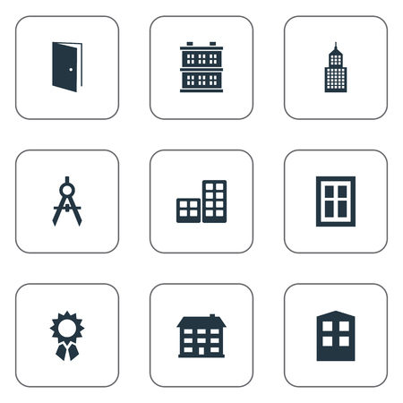architectonics: Set Of 9 Simple Construction Icons. Can Be Found Such Elements As Glazing, School, Construction And Other. Illustration