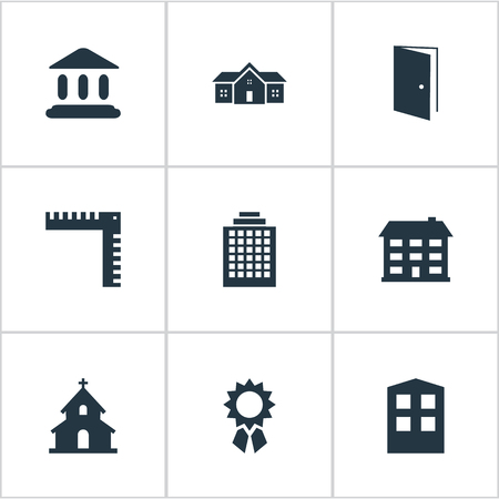 residency: Set Of 9 Simple Structure Icons. Can Be Found Such Elements As Length, Reward, Booth And Other.