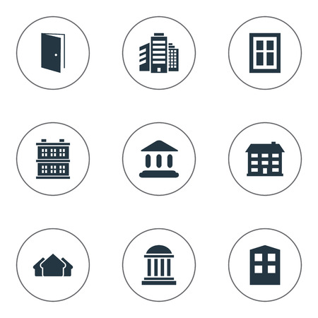 superstructure: Set Of 9 Simple Structure Icons. Can Be Found Such Elements As School, Superstructure, Shelter And Other.