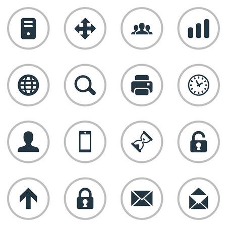 16 간단한 응용 프로그램 아이콘의 집합입니다. 모래 타이머, 오픈 자물쇠, 웹 등의 요소를 찾을 수 있습니다.