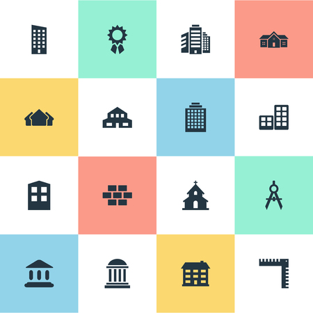 Set Of 16 Simple Structure Icons. Can Be Found Such Elements As Superstructure, Academy, Floor And Other.
