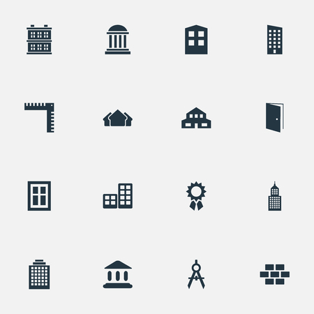 Set Of 16 Simple Construction Icons. Can Be Found Such Elements As Flat, Offices, Stone And Other. Illustration